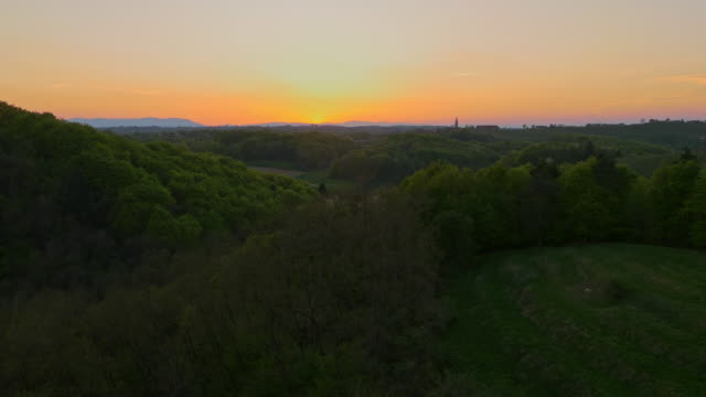 aerial countryside in the sunset - prekmurje stock videos & royalty-free footage