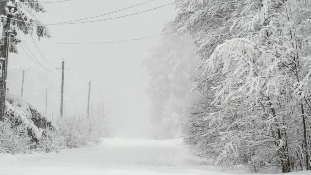 countryside street under snowfall - cable stock videos & royalty-free footage
