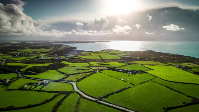 countryside with fields and pastures in wales, uk - wales stock videos & royalty-free footage