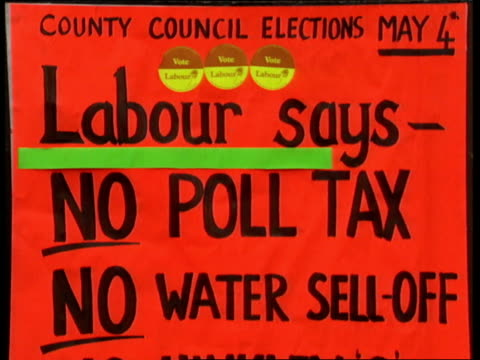 county council election preview; ext labour poster outlining policies / exteriors labour party offices / gvs traffic through streets / paddy ashdown,... - wells cathedral stock videos & royalty-free footage