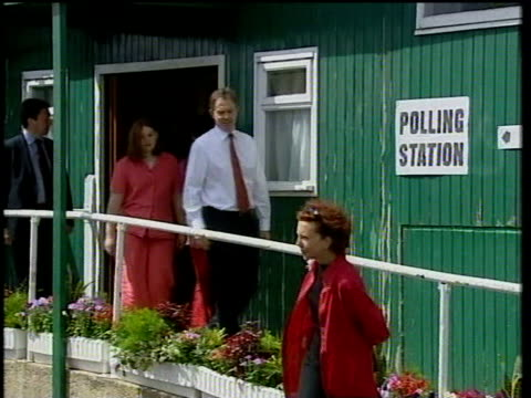 county durham sedgefield ext tony blair walking towards across field with wife cherie blair their three oldest children euan blair nicky blair... - cherie charles stock videos & royalty-free footage