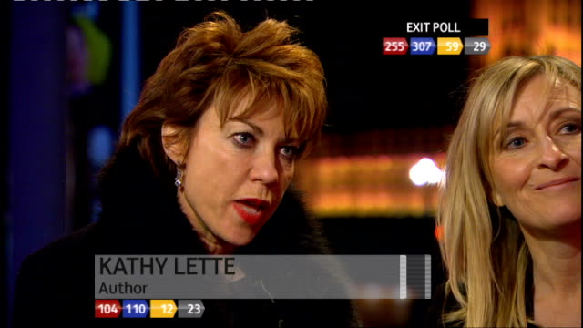 vídeos de stock, filmes e b-roll de special 0300 0400 county hall ext / night mary nightingale interviewing fiona phillips and kathy lette about the leaders' debates how difficult it is... - 2010