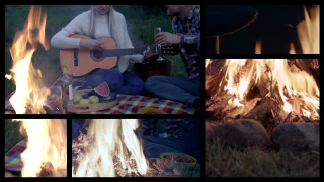 couple and campfire. split screen. - split screen stock videos & royalty-free footage