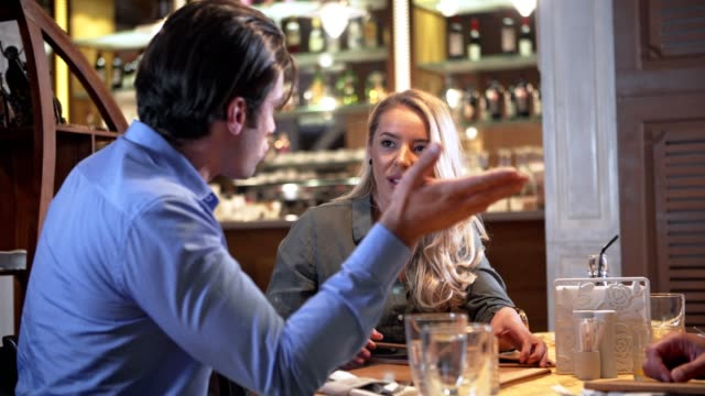 couple argue in the restaurant - relationship breakup stock videos & royalty-free footage