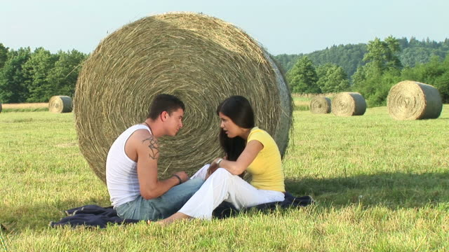 hd: couple arguing - hay bale stock videos and b-roll footage