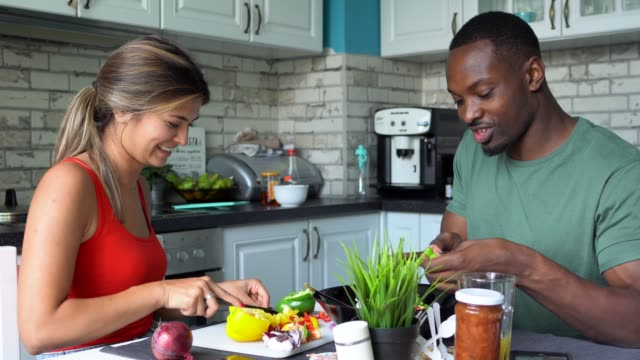 couple at home cooking - girlfriend stock videos & royalty-free footage