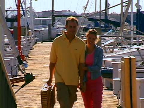 vídeos y material grabado en eventos de stock de couple at marina - cesta de picnic