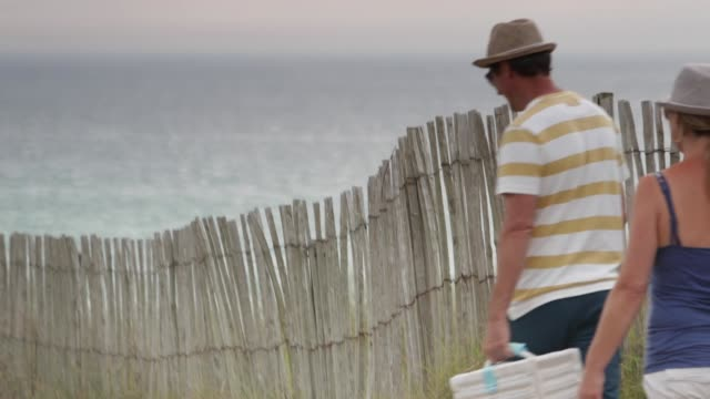 couple at the beach having a picnic - 50 54 years stock videos & royalty-free footage