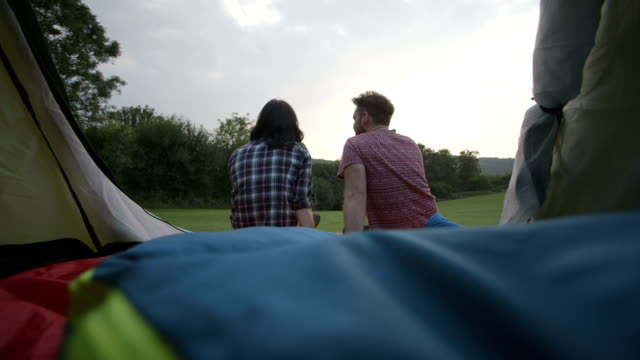 Couple camping in Nature
