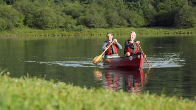 ws couple canoeing across lake / stowe, vermont, united states - stowe vermont stock videos & royalty-free footage