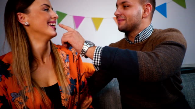 couple celebrate birthday - human nose stock videos & royalty-free footage