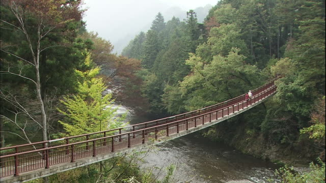 A couple crosses the Ishifune suspension bridge over Akigawa Gorge.