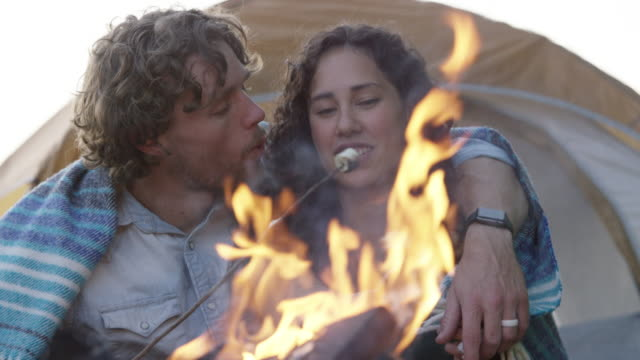couple cuddling by the fire - marshmallow video stock e b–roll