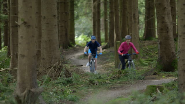 couple cycling through forest track - wales stock videos & royalty-free footage