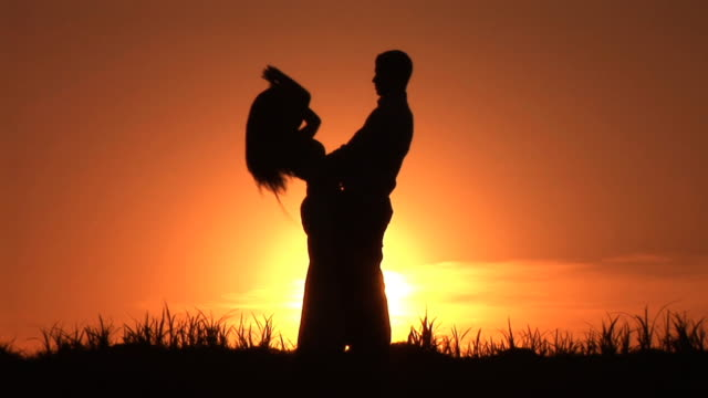 hd: couple dancing at sunset - slow dancing stock videos and b-roll footage