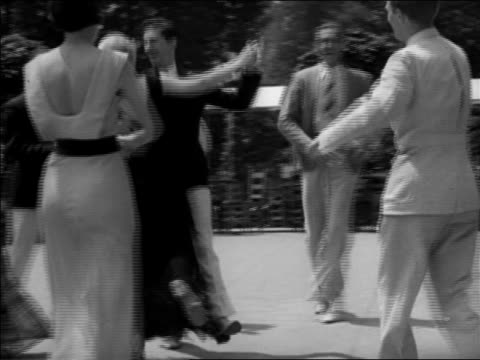 B/W 1937 couple dancing 'Big Apple' outdoors as others clap / Washington, DC / newsreel