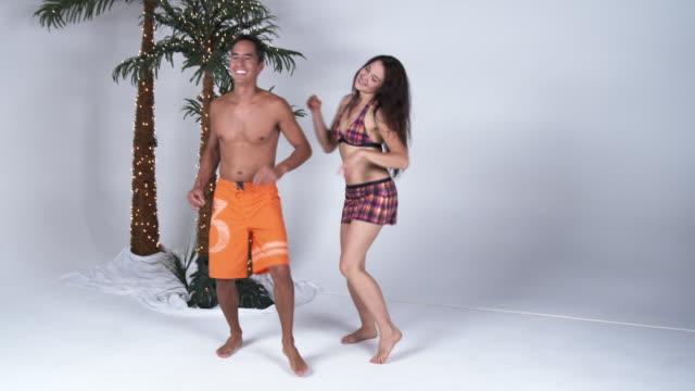 ws couple dancing in studio / orem, utah, usa - orem stock-videos und b-roll-filmmaterial
