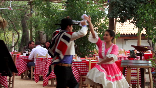 MS TS Couple dancing traditional dance as man playing guitar / Santiago, Chile
