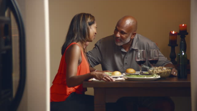 vídeos de stock, filmes e b-roll de ms couple dining at home / bothell, washington state, usa - adulto maduro