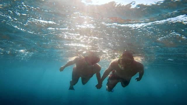 vídeos de stock, filmes e b-roll de casal de pov mergulho de mãos dadas - mergulho submarino