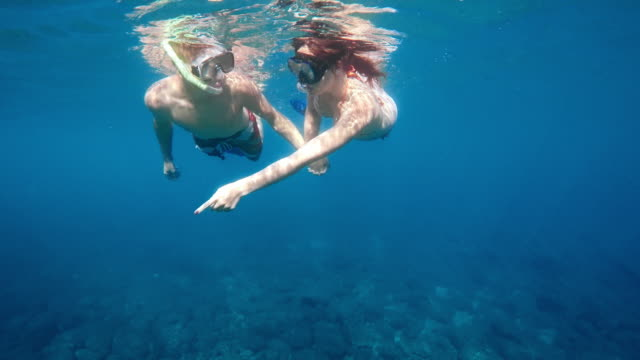 pov couple diving together - due persone video stock e b–roll