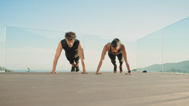 Couple doing workout