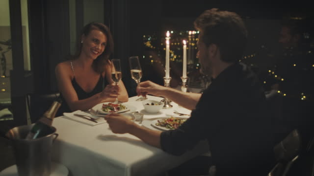 couple drinking champagne - evening meal stock videos & royalty-free footage