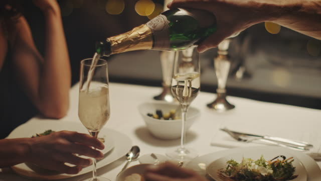 couple drinking champagne - luxury stock videos & royalty-free footage