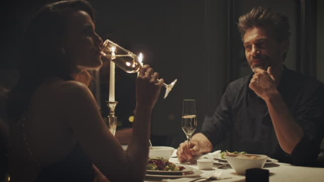 couple drinking champagne - candlelight stock videos & royalty-free footage