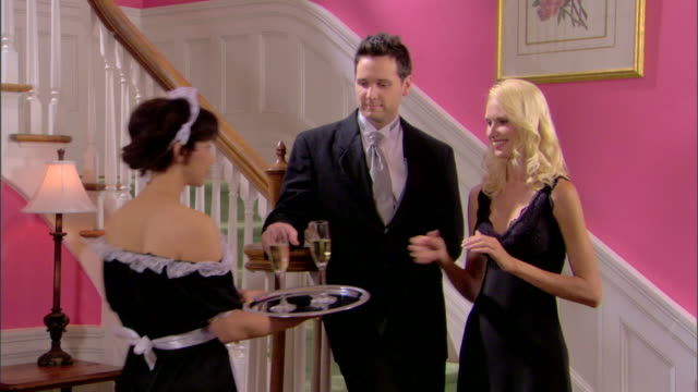 couple drinking champagne - see other clips from this shoot 1277 stock videos and b-roll footage