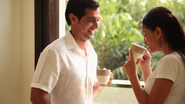 couple drinking tea in the morning  - tea cup stock videos & royalty-free footage