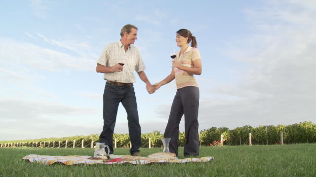 Couple drinking wine at picnic in vineyard