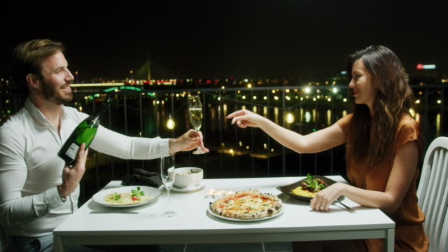 Couple during romantic dinner