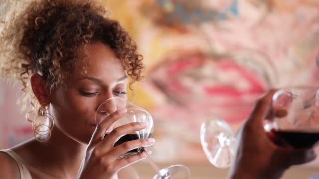 couple eating and drinking at a restuarant - red wine stock videos & royalty-free footage