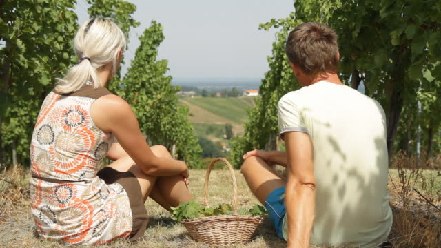 hd: couple eating grape in vineyard - mid adult couple stock videos & royalty-free footage