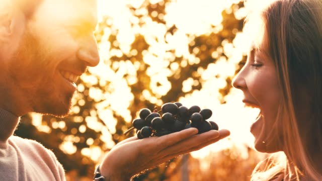 couple eating red grapes together - mid adult couple stock videos & royalty-free footage