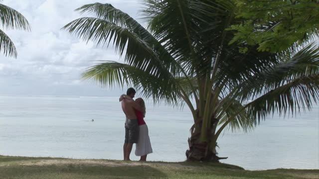 ws, couple embracing on beach, moorea island, tahiti, french polynesia - french overseas territory stock videos & royalty-free footage