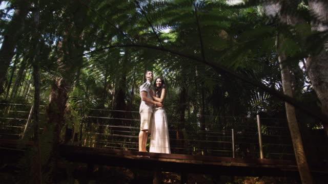 ws, la, couple embracing on boardwalk in tropical rainforest, mossman, queensland, australia - fan palm tree stock videos & royalty-free footage