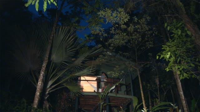 vídeos de stock, filmes e b-roll de ws, la, couple embracing on tree house balcony in tropical rainforest at dusk, mossman, queensland, australia - treehouse