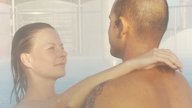 hd: couple enjoying hot tube - health spa stock videos and b-roll footage