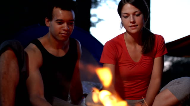 couple enjoying next to the campfire - next to stock videos and b-roll footage