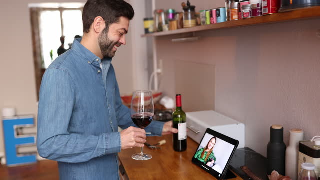 couple enjoying on online date - red wine stock videos & royalty-free footage