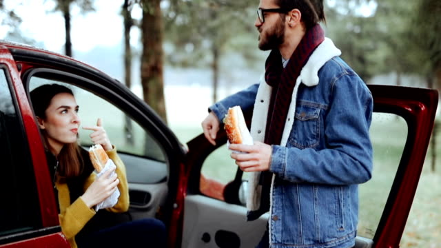 couple enjoying road trip and lunch break - sandwich stock videos & royalty-free footage