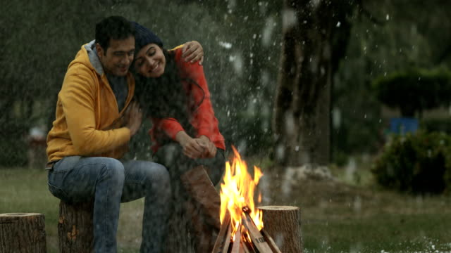 MS Couple enjoying snowfall / India