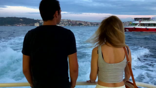 couple enjoying the ride on ferry - ferry ride stock videos & royalty-free footage