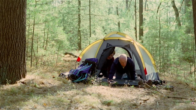 ms, couple getting out of tent in forest, usa, pennsylvania, solebury - giovane nell'animo video stock e b–roll