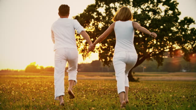 ws couple happily in love - hugging tree stock videos and b-roll footage