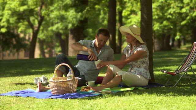 couple having a picnic outdoors stockholm sweden. - fare una pausa video stock e b–roll
