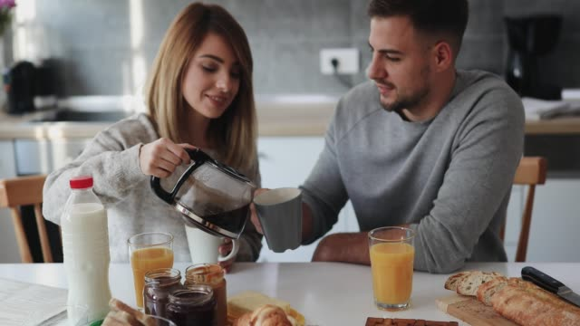 couple having breakfast - morning breakfast stock videos & royalty-free footage