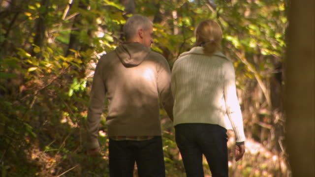 cu couple holding hands/ ms couple walking down wooded path/ man spinning woman around/ livingston, new york - 50 54 years stock videos and b-roll footage